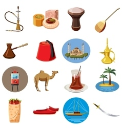 Turkey travel icons set cartoon style vector image vector image