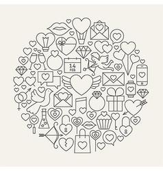 Valentine Day Line Icons Set Circle Shape vector image