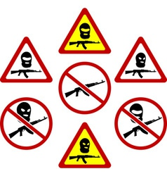 warning signs of terrorism vector image vector image