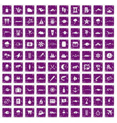 100 marine environment icons set grunge purple vector