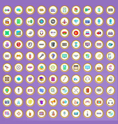100 multimedia icons set in cartoon style vector image vector image