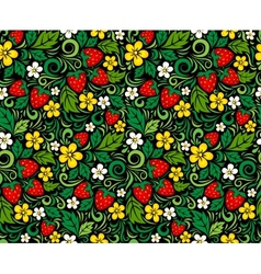 Strawberry pattern in traditional russian style vector