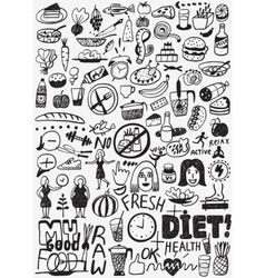 Diet  raw food - doodles set vector image