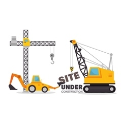 Site under construction equipment graphic vector