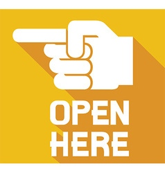 Open here sign icon vector