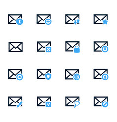 Mail and envelope icons set vector