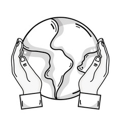 Line hands with global earth planet and geography vector