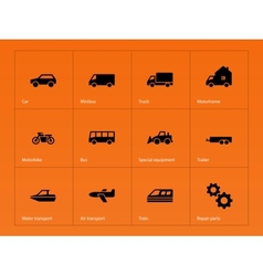 Cars and transport icons on orange background vector