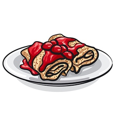 Pancakes and cherry jam vector