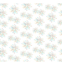 Seamless firework salute pattern isolated on white vector