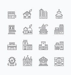 Linear web icons set - buildings collection vector