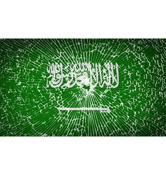 Flags saudi arabia with broken glass texture vector