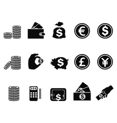 money and coin icons set vector image
