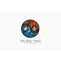 Hand drawn ying yang symbol of harmony and balance vector
