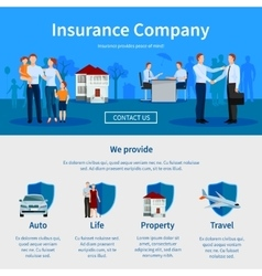 Insurance company one page website vector