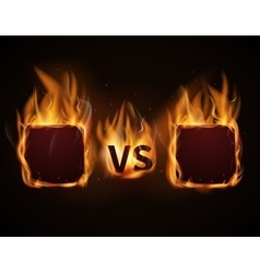 Versus screen with fire frames and vs letters vector