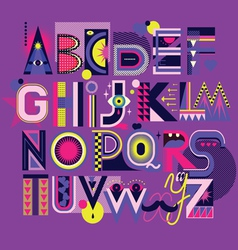 Art neon font vector