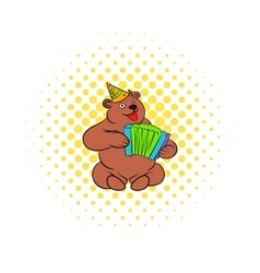 Bear plays the harmonica comics icon vector image