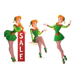 Beautiful girl in Christmas elf costume in vector image