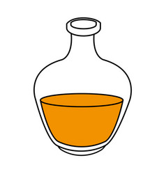 Black silhouette bottle with liquid orange oil vector