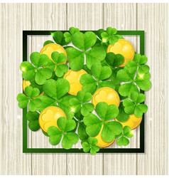 Clover leaves and golden coins vector