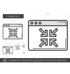 Collapse line icon vector
