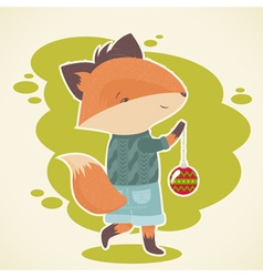 Cute cartoon fox character celebration card vector image