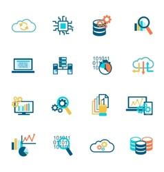 Database analytics icons flat vector image vector image