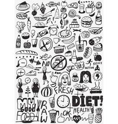 Diet raw food - doodles set vector image vector image