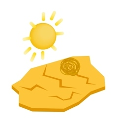 Drought cracked desert landscape icon vector