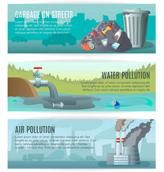 Environmental pollution banners set vector