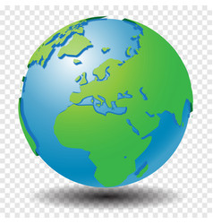 Globe with wold map on transparency grid middle vector