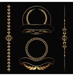 Gold contour decorative ornaments vector