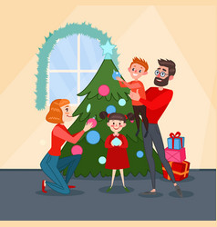 happy family decorating christmas fir tree vector image