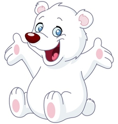 happy white teddy bear vector image vector image