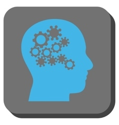 Human mind gears rounded square button vector
