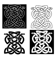 Intricate intertwined snakes emblem vector