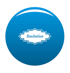 Invitation label icon blue vector