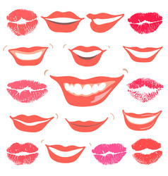 lovely smiles collection print of lips set vector image