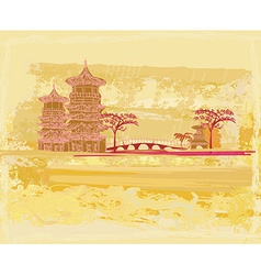 old paper with Chinese old building on abstract vector image vector image