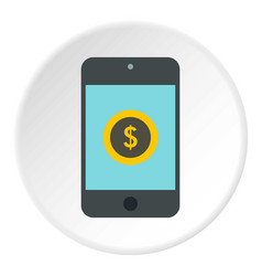 Online purchase in smartphone icon flat style vector