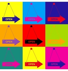 Open sign pop-art style icons set vector