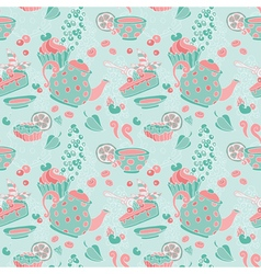 Ornament seamless pattern with tea party objects vector image vector image