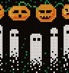 pixel halloween pattern vector image vector image