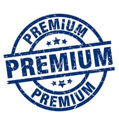 Premium blue round grunge stamp vector