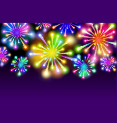 purple starry fireworks background with place for vector image vector image