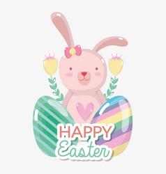 Rabbit female with eggs easter design vector