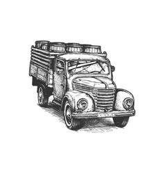 retro pickup truck with barrels vector image vector image