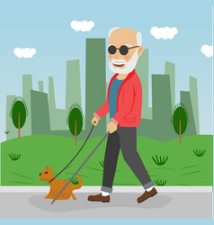 Senior blind man with guide dog walking outdoor vector