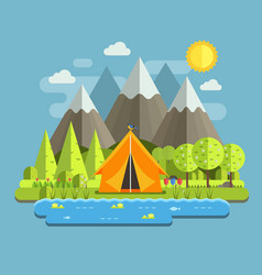 spring camping landscape vector image vector image